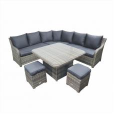 Loungehoek Shelby verstelbaar tafel kubu grey incl.hockers
