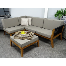 Teak Loungeset Vancouver chaise-longue rope