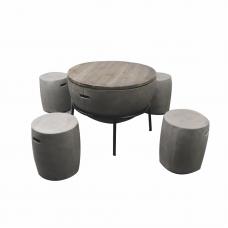 Vuurhaardset beton look incl.4 krukjes