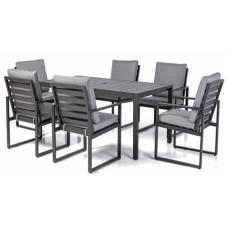Diningset Miami aluminium black | 6 stoelen | pre-season sale! | leverbaar januari 2020