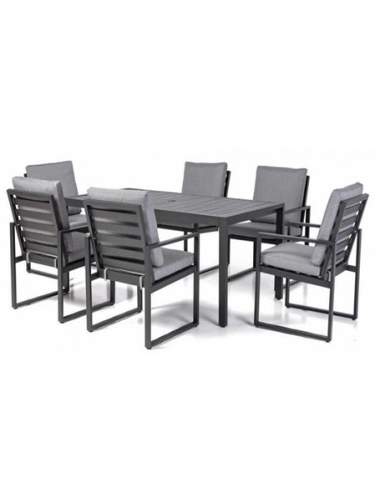 Terrastafel Met 6 Stoelen.Diningset Miami Aluminium Black 6 Stoelen Pre Season