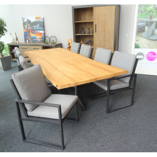"Teak Diningset Cross ""300""  incl.8 Tuinstoel Miami alu black 