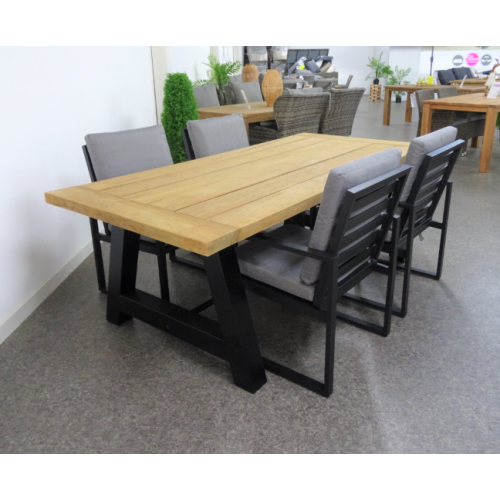 Teak industriele Diningset incl 4 Miami alu black
