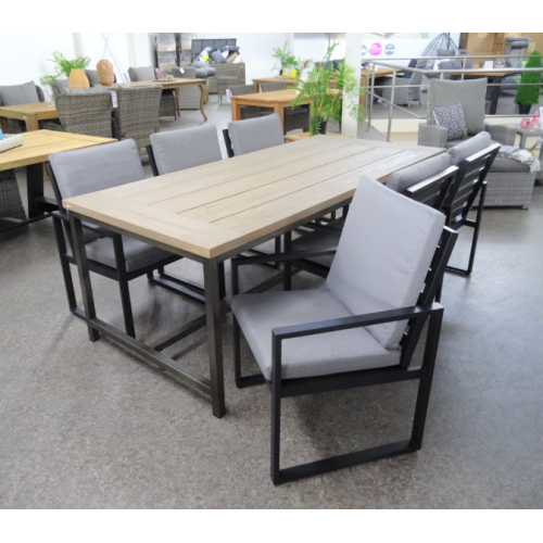 Diningset Industrieel incl.6 Tuinstoel Miami alu black | pre season sale!