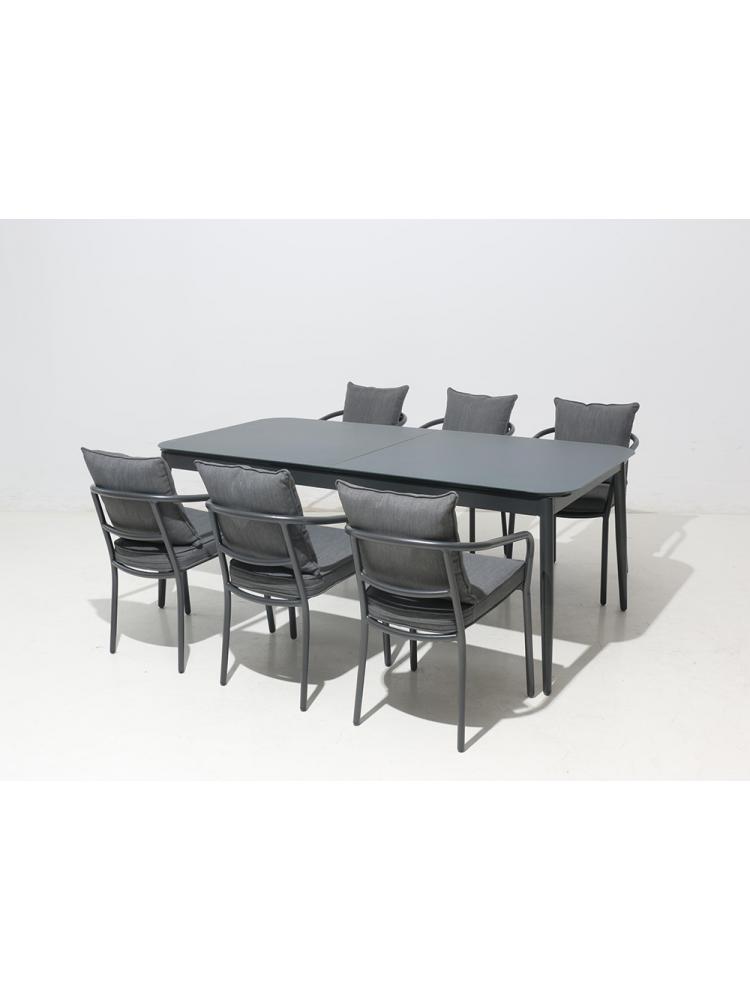 Terrastafel Met 6 Stoelen.Diningset Aluminium Uitschuifbaar Met 6 Florida Stoelen
