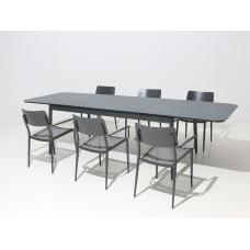 Diningset aluminium uitschuifbaar | met 6 Florida stoelen