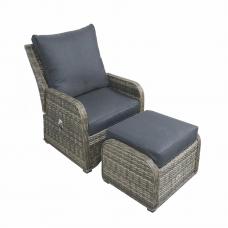 Lounge fauteuil Shelby verstelbaar en footrest