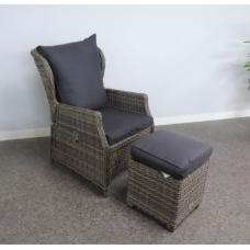 Lounge fauteuil Bretagne verstelbaar incl.hocker kubu grey