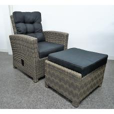 Lounge fauteuil Austin verstelbaar en footrest