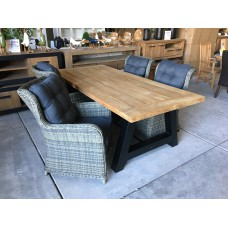 "Dining set Industrial ""220"" incl 4 Tuinstoel Beaufort kubu grey"