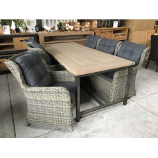 "Dining set Industrieel teak grey wash ""220"" incl 6 Tuinstoel Beaufort kubu grey"