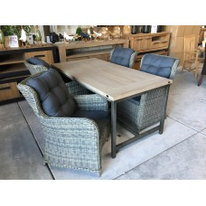 "Dining set Industrieel teak grey wash ""180"" incl 4 Tuinstoel Beaufort kubu grey"