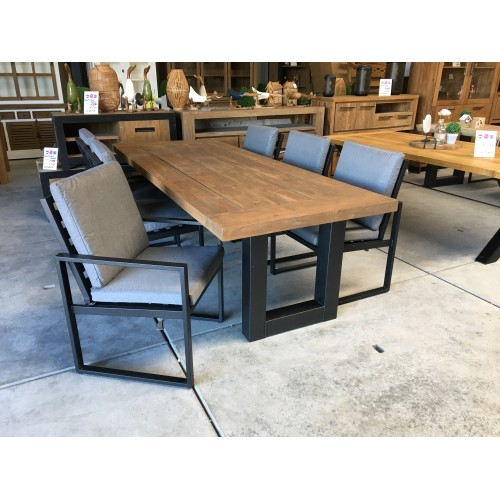 "Dining set Industrial teak U leg ""240"" incl 6 Tuinstoel Miami black"