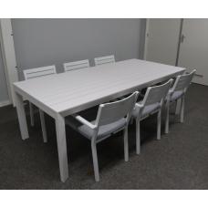 """Diningset Dallas aluminium white uitschuifbaar """"220 naar 300"""" incl 6 stapelstoelen met kussen"""