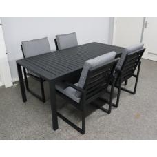 Diningset Miami aluminium black incl 4 stoelen| pre-season sale|leverbaar januari 2020
